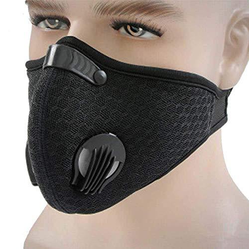 Maschera Antipolvere, Maschera Antigas Regolabile, Maschera Sportiva Filtro, Maschera Sportiva, Respiratore con Carboni Attivi Filtro (Nero 2 pz)