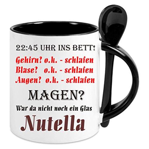 Creativ Deluxe Kaffeetasse m. Löffel Nutella - Kaffeetasse mit Motiv, Bedruckte Tasse mit Sprüchen o. Bildern - auch indiv. Gestaltung