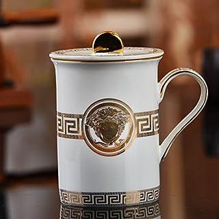 Xing Lin Tazas De Viaje Taza De Cerámica Taza De Cerámica Cubierta De La Sala Sala De Estar Oficina Taza De Porcelana De Hueso Superior Taza De Taza De Té Copa De Leche, C Versace