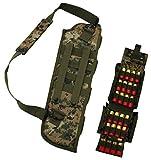 19' Woodland Digital Ambidextrous Molle Short Shotgun Scabbard Soft Protective Case With 4 Round Carrier & Shoulder Strap + Molle 25 Round 12 Gauge Shot Shell Ammunition Ammo Reload Carrier Pouch
