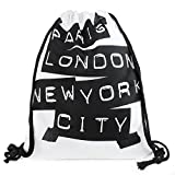 KLIMBIM PARIS LONDON NEW YORK Fullprint Jutebeutel mit Aufdruck Turnbeutel Allover Print Gym Bag 9007-14