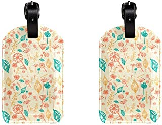 Flowers And LaeafLeather Luggage Tags Suitcase Labels Bag Travel ID Bag Tag, 1 Pcs