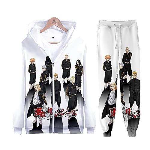 EDMKO Cremallera Chandal Conjunto con Impresión Tokyo Revengers Anime Hoodie Y Pantalones Deporte Conjunto De 2 Piezas Sudaderas con Capucha Traje Deportivo Ropa Deportiva,Blanco,L