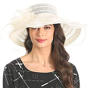 Womens Black Kentucky Derby Church Hat Dress Fascinator Bridal Organza Tea Party Wedding Hat
