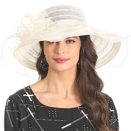 Women's Organza Kentucky Derby Church Dress Hat Fascinator Bridal Wide Brim Tea Party Wedding Hat Beige