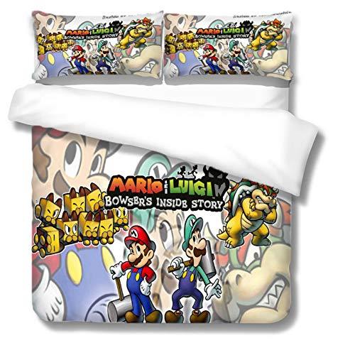 NBAOBAO Super Mario Bros - Juego de funda de edredón y funda de almohada (microfibra, 1 funda de edredón y 2 fundas de almohada de 80 x 80 cm (Mario-1,140 x 210 cm + 80 x 80 cm)