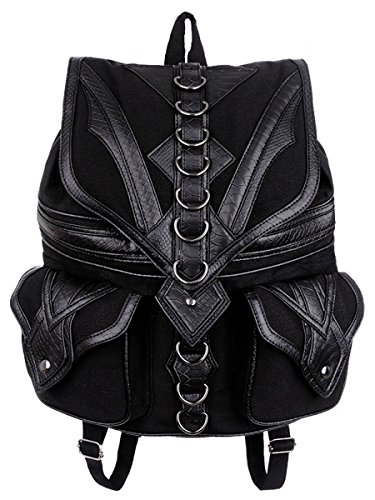 Dark Dreams Gothic Steampunk Tasche Restyle Rucksack Drache Dragon Backpack Kunstleder-Applikationen schwarz