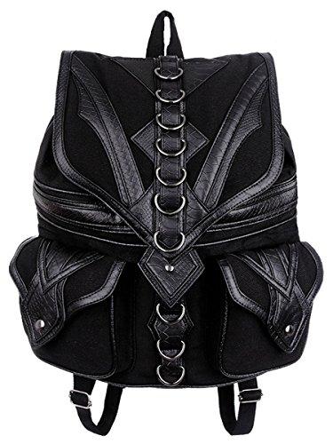 Dark Dreams Gothic Steampunk Tasche Restyle Rucksack Drache Dragon Backpack Kunstleder-Applikationen schwarz