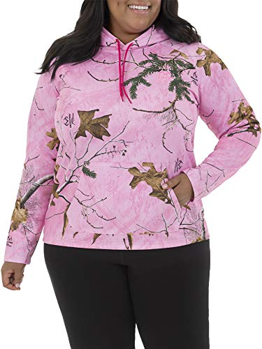 Realtree Women's Plus Size Fleece Hoodie, Fuchsia Burst/Cotton Candy Camo, 1X