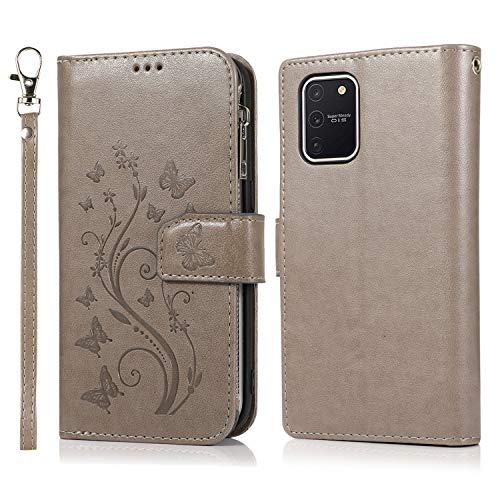 Nadoli Hülle Reißverschluss für Samsung Galaxy S10 Lite,Retro Brieftasche Handytasche Pu Leder Schutzhülle mit Stand Kartenhalter Schutz Klappbörse mit Blumen Schmetterling Entwurf