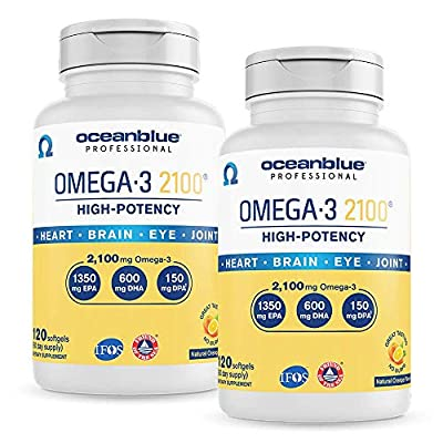 Oceanblue Omega-3 2100 – 120 ct – 2 Pack – Triple Strength Burpless Fish Oil Supplement with High-Concentration EPA and DHA – Wild-Caught – Orange Flavor (120 Servings) – Label May Vary, New Packaging