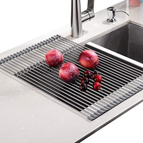 Rainsworth Escurreplatos enrollable, sin BPA, Escurreplatos enrollable multiusos plegable de acero inoxidable para Fregadero, Secado vajilla frutas verduras, 52.8 x 34 cm, Gris
