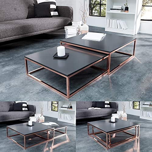 cagü: Design 2er Set Couchtische [MAILAND] Anthrazit Matt mit Kupfergestell 75/65cm