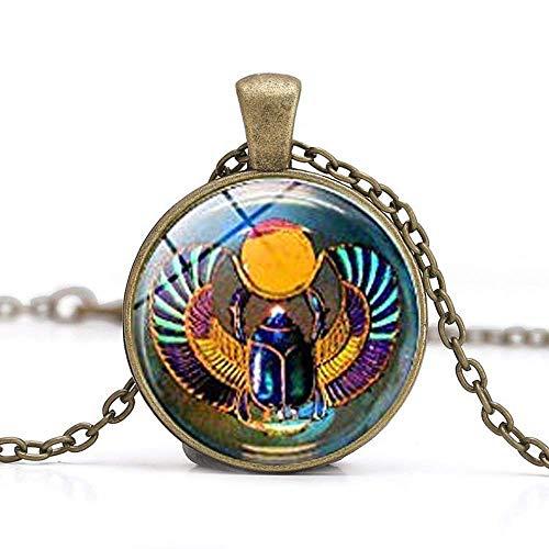 Collar de escarabajo egipcio, joyería egipcia del antiguo E