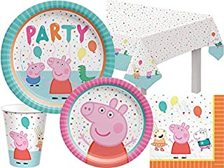 PEPPA PIG PARTY SET KIDS PARTYWARE PLATES NAPKINS CUPS BALLOONS LOOTBAGS