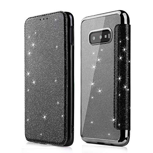 Karomenic PU Leder Hülle kompatibel mit Samsung Galaxy S10e Glänzend Glitzer Handyhülle Brieftasche Überzug Durchsichtig Silikon Schutzhülle Klapphülle Ledertasche Wallet Flip Hülle Etui,Schwarz