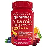 Vitamin B12 5000mcg and Vitamin D3 5000 IU Gummies, 60 Count | Delicious Fruit Punch Flavor, Vitamin D and Methyl B12 Vitamins for Energy and Immune Support