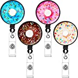 4 Pieces Donut Badge Reel Donut Retractable Badge Clip Nurse ID Badge Holder with Belt Clip 24 Inch Nylon Cord for Nurse Teacher Student Volunteer Office Employee on Card Holders