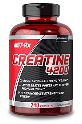 MET-Rx Creatine 4200 Pre or Post Workout Supplement, Creatine Capsules, 240 Count