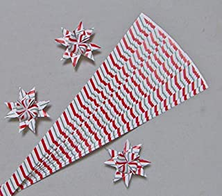 Paper Strips for Weaving Projects. Paper Strips for Moravian Stars, German Stars and Frobel Stars. Candy Cane Pattern. 50 strips per pack. 5/8 inch x 19 inch in Size