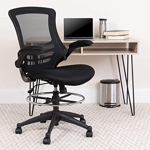 Flash Furniture Mid-Back Black Mesh Ergonomic Drafting Chair with Adjustable Foot Ring and Flip-Up...