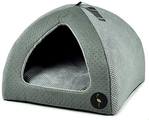 Lauren Design Hundehöhle grau gesteppt/grau | Kuschelhöhle 50X50 cm| Katzenhöhle | Hundebett kleine Hunde Bella