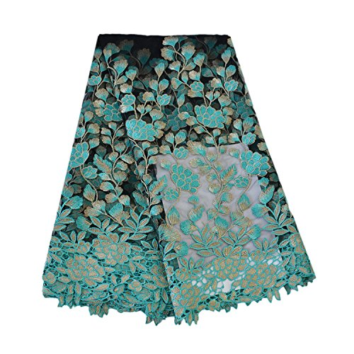 Aisunne African Lace Fabrics 5 Yards Nigerian French Lace Fabric with Fashion Embroidered Flower for Wedding Party Dresses (Green)