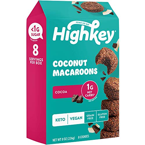 Highkey Keto Chocolate Macaroon Cookies - Cocoa Coconut Macaroons - 8 Pcs - Vegan Snacks Low Carb Snack Food for Healthy Sugar Free Cookie and Paleo Ketogenic and Diabetic Diet Friendly Food