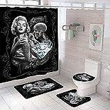 Shower Curtain 4 Piece Set Non-Slip 3D Marilyn Monroe Skeleton Bathroom Rug Mat Set Toilet Cover Bath Mat Non-Slip Waterproof Mould Proof Shower Curtains Bathroom Decoration 180x180 cm