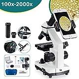 2000x Microscope règle Mobile à LED de Microscope Optique de Laboratoire avec Lames de Microscope préparées et Vierges