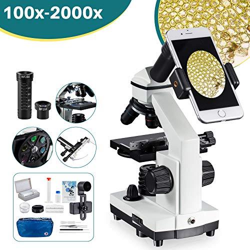 2000x Microscopio Compuesto de Regla móvil - de Laboratorio con LED, con Accesorios para microscopio, portaobejtos con preparados y en Blanco