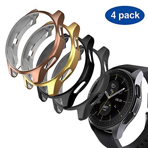 GeeRic 4X Kompatibel Für Samsung Galaxy Watch 46mm & Gear S3 Silikon Hülle,Ultra Schlank Dünn TPU Gel Gummi Weiche Haut Silikon Schutzhülle Flexible Anti-Scratch Stoßfängerabdeckung