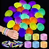 72 PCs Easter Basket Stuffers Includes 24 Plastic Easter Eggs, 24 Glow Sticks Bulk, and 24 Glow in the Dark Bracelets, Easter Party Favor Set for Kids
