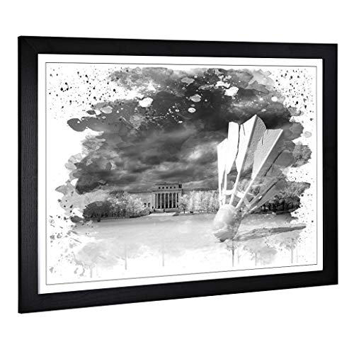 BIG Box Art Gerahmter Kunstdruck mit Federball-Motiv Badminton V3 (großes Wandbild für Küche, Wohnzimmer, Esszimmer, Schlafzimmer, Flur, A2, 24,5 x 18 Zoll), Schwarz, 62 x 45 cm
