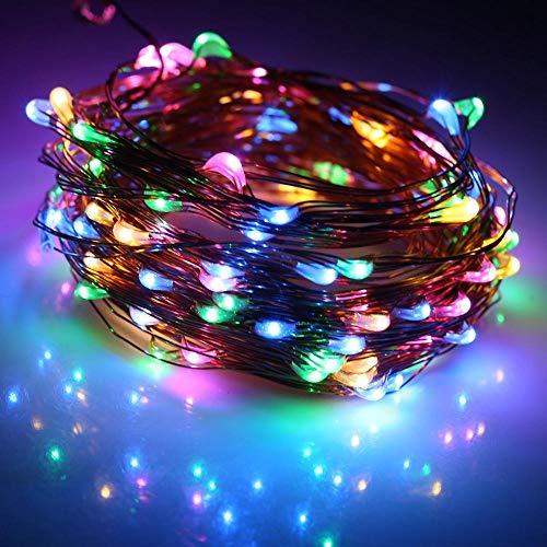 Guirnaldas Luces Exterior 10M 20M Luces De Hadas De Cobre Interior Al Aire Libre Impermeable Luces De Decoración Solar Para Jardines Fiesta De Baile En Casa Navidad-Multicolor_10M 100Leds