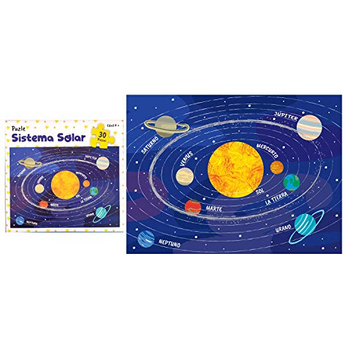 Framan 11176 Puzle para niños Modelo Sistema Solar, Planetas con Sus Nombres. Rompecabezas 30 Piezas. 21 x 28.5cm