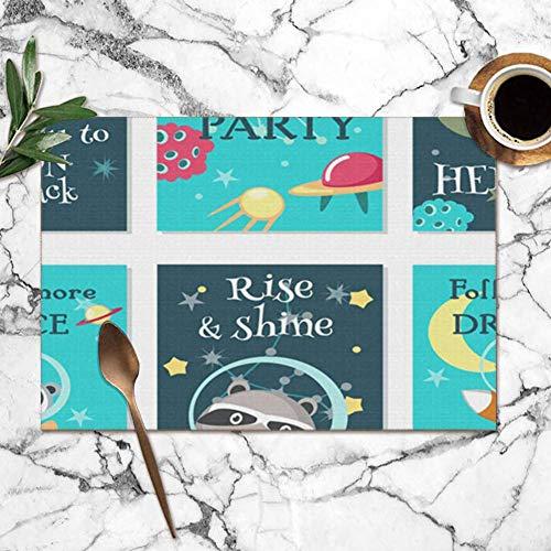 surce ruimte partij uitnodiging kaart sjabloon set dieren in het wild dier wasbare placemats voor eettafel dubbele stof afdrukken polyester plaats matten voor keuken tafel set van 6 tafel mat 12x18 inch