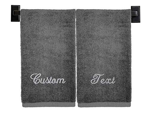 Personalized Towel Sets, 100% Cotton, Made in The USA, Luxury Hotel Quality, Embroidered (2 Bath Towels, Grey)