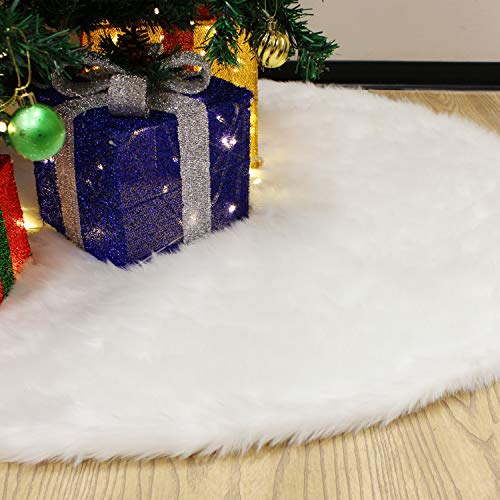 JOYIN 48' Faux Fur Christmas Tree Skirt(Snowy White) for Holiday Tree Decorations