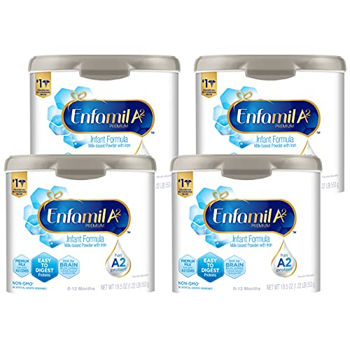 Enfamil A2 Premium Infant Formula, Non-GMO, Easy-to-Digest Premium Milk Proteins from Select A2 Cows, Milk-Based Powder with Iron and Brain Building DHA, Reusable Tub, 19.5 Oz (Pack of 4) Total 78 Oz