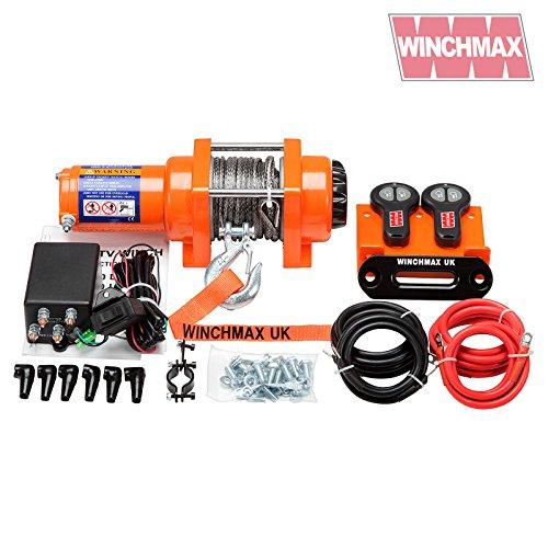 WINCHMAX Elektrische Seilwinde, Dyneema-Seil, 12 V, 1361 kg, Orange