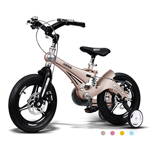 BaoKangShop Bicicletas Marco de Aleación de magnesio Bicicleta para Niños 3-6 Años de Edad los Niños Bicicleta Hombres y Mujeres Cochecito de bebé Amortiguador (Color : Gold, Size : 12 Inches)