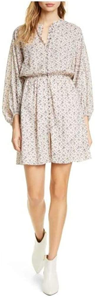 Joie Womens Galani Milwaukee Mall Floral-Print Billowed Pink L Dress Year-end gift Sky Sleeve