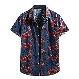 Mens Floral Print Hawaiian Shirts Short Sleeve Button Down Tropical Summer Casual Beach Shirts (Navy, L)
