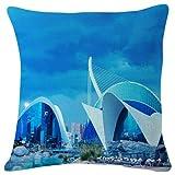 Couch Cushions Ciudad De Las Artes Y Las Ciencias Valencia Fashion Sofá De Impresión Decorativa De Doble Cara 45X45Cm Funda De Cojín para Sofá Funda De Almohada Duradera Fiesta Fam