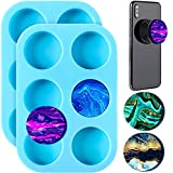 2 Pieces Round Mobile Phone Grip Silicone Molds, Glossy Round Epoxy Resin Molds, Round Silicone Molds for Epoxy Resin Crafts, Epoxy Resin Mold Jewelry Making Supplies