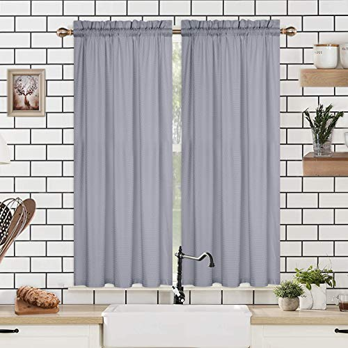 """Cafe Curtains 45 Inch Length, Embossed Textured Soft Microfiber Kitchen Tier Curtains for Windows Bathroom Window Curtains, Grey, 30"""" Wx45 Lx2"""
