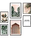 Heimlich Cuadros Decorativos - SIN Marcos -Decoración Colgante para Paredes de Sala, Dormitorios y Cocina - Arte Mural - 2 x A3 & 4 x A4-30x42 & 21x30 | » Pastel Monstera Plants «