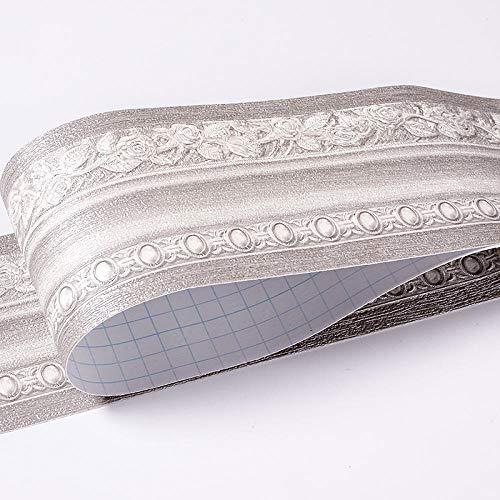 JMSHTU Fondo de pantalla 3D Edge Auto adhesivo de PVC del papel pintado auto-adhesivo de Frontera para la cocina Cuarto de baño decoración de la pared para 10 * 500cm Gris europeo, Gris Europeo