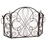 Christopher Knight Home Kingsport Fireplace Screen, Gold Flower On Black